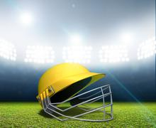 Cricket Stadium And Helmet - stock illustration