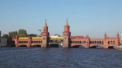Oberbaum bridge in Berlin, Germany on a sunny day Arkistovideo