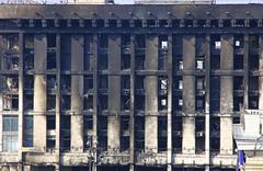 Trade Union building aftermath the fire during anti-government protests - stock photo