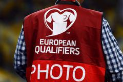 EURO 2016 Qualifying game Ukraine vs Slovakia - stock photo