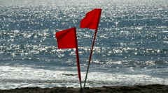 Beach Warning Flags Stock Footage