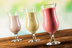 Healthy diet, protein shakes and fruits - stock photo