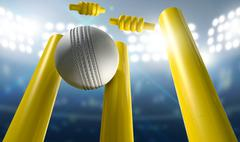 Cricket Wickets And Ball In A Stadium - stock illustration