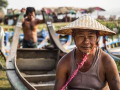 Portrait of Burmese Boatman in Amarapura, Mandalay, Myanmar Stock Photos
