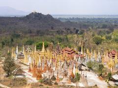 Inn Thein Pagoda at Indein Village, Inle Lake, Shan State, Myanmar - stock photo