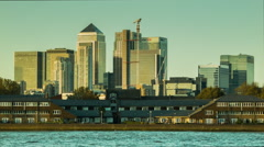 Sunset at Canary Wharf, view from Greenwich Stock Footage