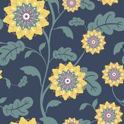Modern yellow sun flowers seamless background Stock Illustration