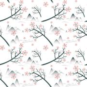Stock Illustration of elegant cherry blossom seamless pattern background