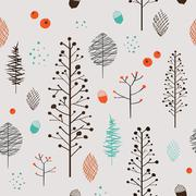 adorable plant seamless pattern - stock illustration