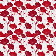 Stock Illustration of graceful red seamless floral pattern