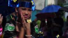 Blue headband Carnival Dancer Smile - stock footage