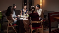 Young people at a dinner Stock Footage