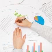Business man working with financial data - preparing for signing contract Stock Photos