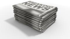 Newspaper Stack Breaking News - stock illustration