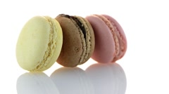 Colorful 3 French Macarons Stock Footage