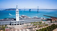 Time lapse - San Francisco Ferry Building with ferries Stock Footage