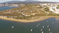Aerial from camper field in Algarve Portugal Stock Footage