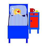 Ill chicken lying in bed with thermometer Stock Illustration