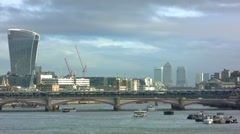 View of the City of London, Blackfriars Bridge - stock footage