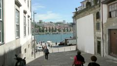 Ribeira square in Porto and Duoro river Stock Footage