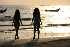 Two silhouettes - stock photo