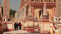 Thandboddhay Paya temple (temple of half of million Buddhas) in Monywa, Myanmar - stock footage