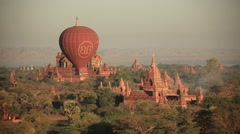Air Balloons Buddhist Temples Stock Footage