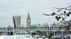 British Flag with Big Ben Stock Footage