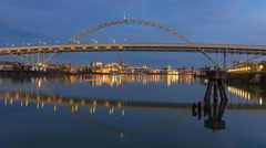 Time Lapse of Auto Traffic Over Fremont Bridge in Portland Oregon at Blue Hour Stock Footage