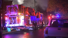 House fire fire trucks staged Stock Footage