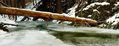 Stock Photo of Stream in deep freeze. Long exposure in night.