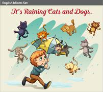 An idiom showing a rain with animals - stock illustration
