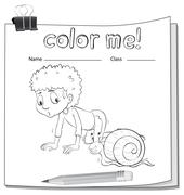 A worksheet showing a boy and a snail Stock Illustration
