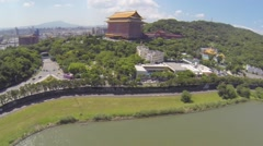 Drone aerial over Taipei Grand Hotel - sunny day Stock Footage