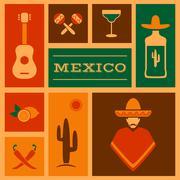 mexico background, - stock illustration