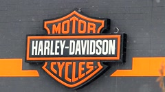 Harley Davidson motorcycles logo Stock Footage