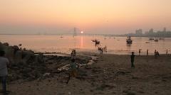 Sunset at Bandra - Worli Sealink Stock Footage