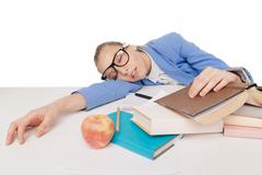 Student girl in big glasses sit and sleep Stock Photos