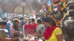 Religious Hindu ceremony with candles in Kathmandu, Nepal Stock Footage
