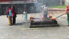 Pashupatinath, people celebrating the Dasain in the Holy City of Nepal Stock Footage