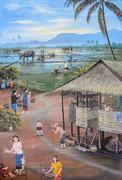 Thai mural painting of Thai people life in the past on temple wall at Wat Che - stock photo