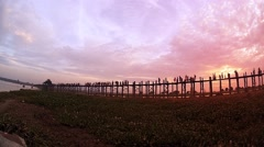 U Bein bridge at sunset in Amarapura, Burma (Myanmar) Stock Footage
