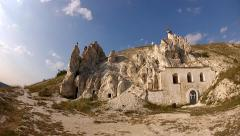 Panorama of Chalk cave monastery in Divnogorie, Russia Stock Footage