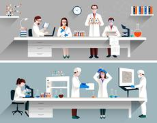 Scientists In Lab Concept Piirros