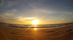 Beautiful sunset on the ocean, Bay of Bengal, Ngwe Saung Beach, Myanmar (Burma) Stock Footage
