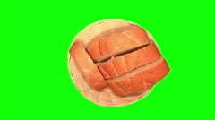 4 slices of white bread in basket Stock Footage