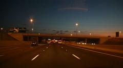 Highway driving under bridges - Johannesburg Stock Footage