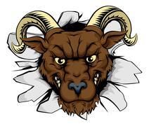 Ram mascot smash out - stock illustration
