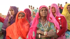 village Poor Indian Women in Disert Rajasthan India - stock footage