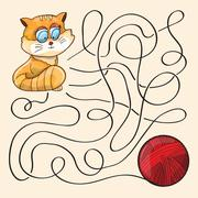 Kitten And Wool Ball Stock Illustration